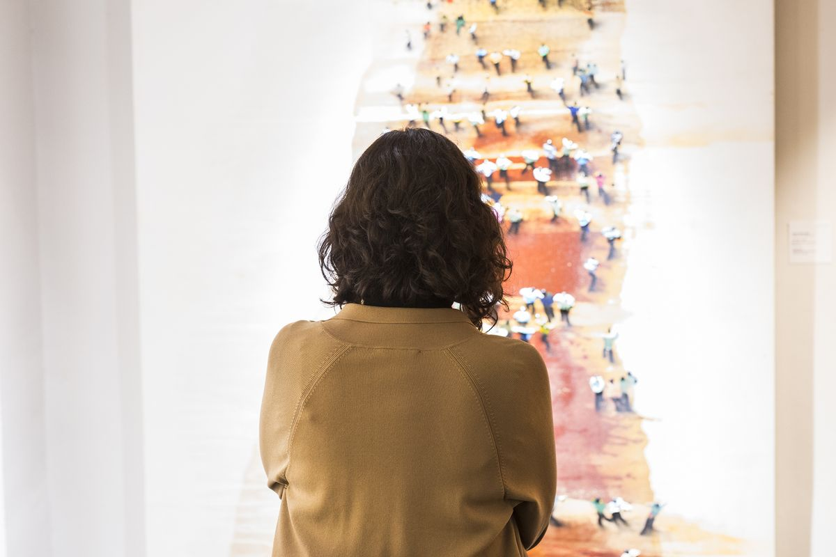 Isabel Díaz Ayuso, este martes, en la visita al Salón de Arte Moderno.