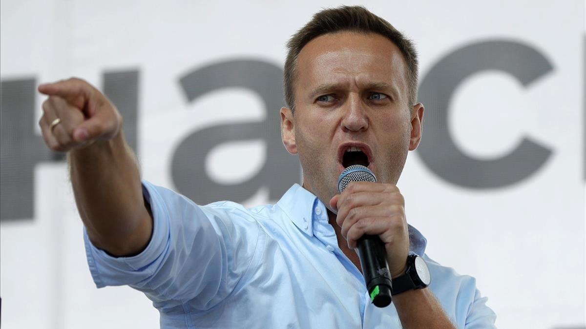 Alekséi Navalni, en un acto de protesta en Moscú en julio del año pasado.
