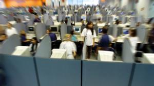 Un call center de reclamación de deudas en Brasil.
