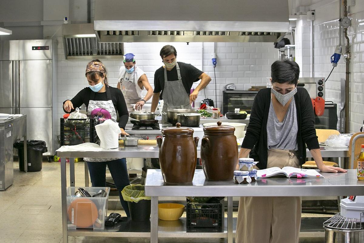 Actividad en el 'coworking' culinario Massa Barcelona.