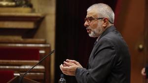El jefe de la oposición y líder de Cs, Carlos Carrizosa, en el Parlament.