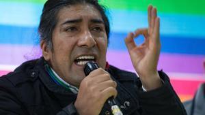 El dirigente del movimiento político indígena ecuatoriano Pachakutik, Yaku Pérez.
