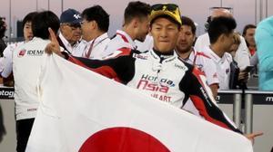 Kaito Toba, del Honda Team Asia, celebra su victo