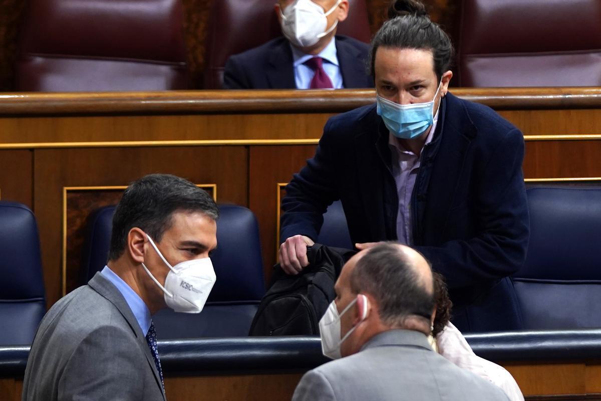 Sesion de Control al Gobierno ,en la imagen Pedro Sanchezy Pablo Iglesias.