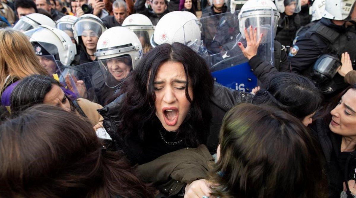 Imagen de la manifestación en Turquía.