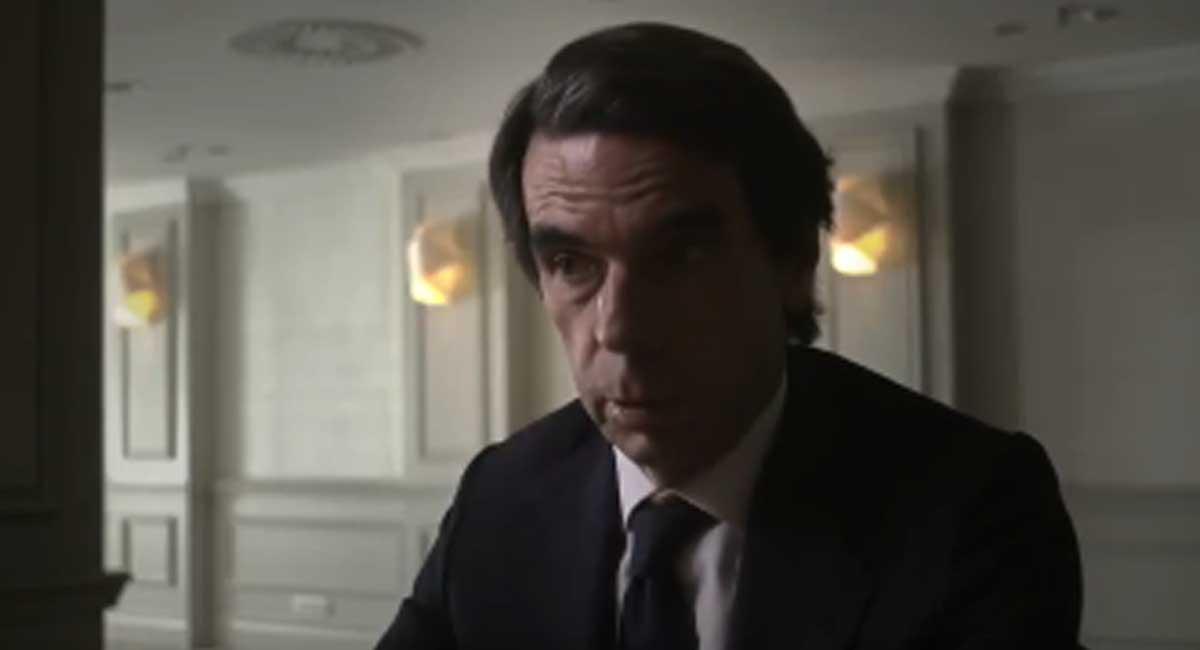 José María Aznar, durante un momento de la entrevistaque le hizo Jordi Évole en 'Lo de Évole'..
