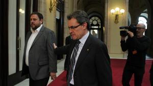 El presidente de la Generalitat, Artur Mas, y el líder de ERC, Oriol Junqueras.