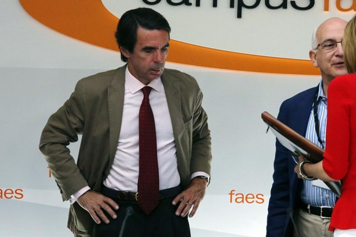 Aznar, durante la inauguración del campus de la FAES, el pasado mes de julio en Guadarrama (Madrid).