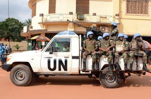 Imagen de archivo de un grupo de soldados ruandeses en la capital de la República Centroafricana, Bangui.