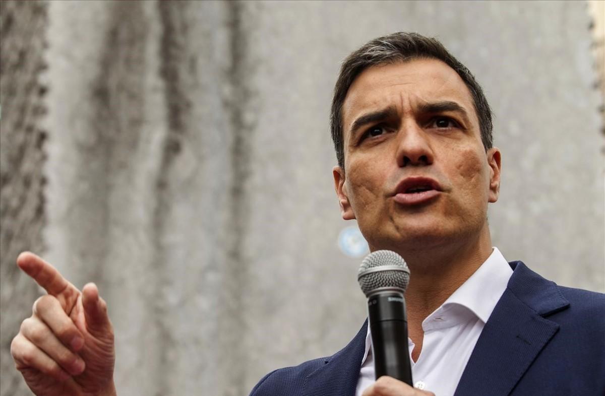 El líder del PSOE, Pedro Sánchez, este lunes en Vitoria.