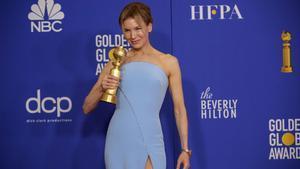 Alfombra roja de los Globos de Oro. En la foto,Renée Zellweger con su premio.