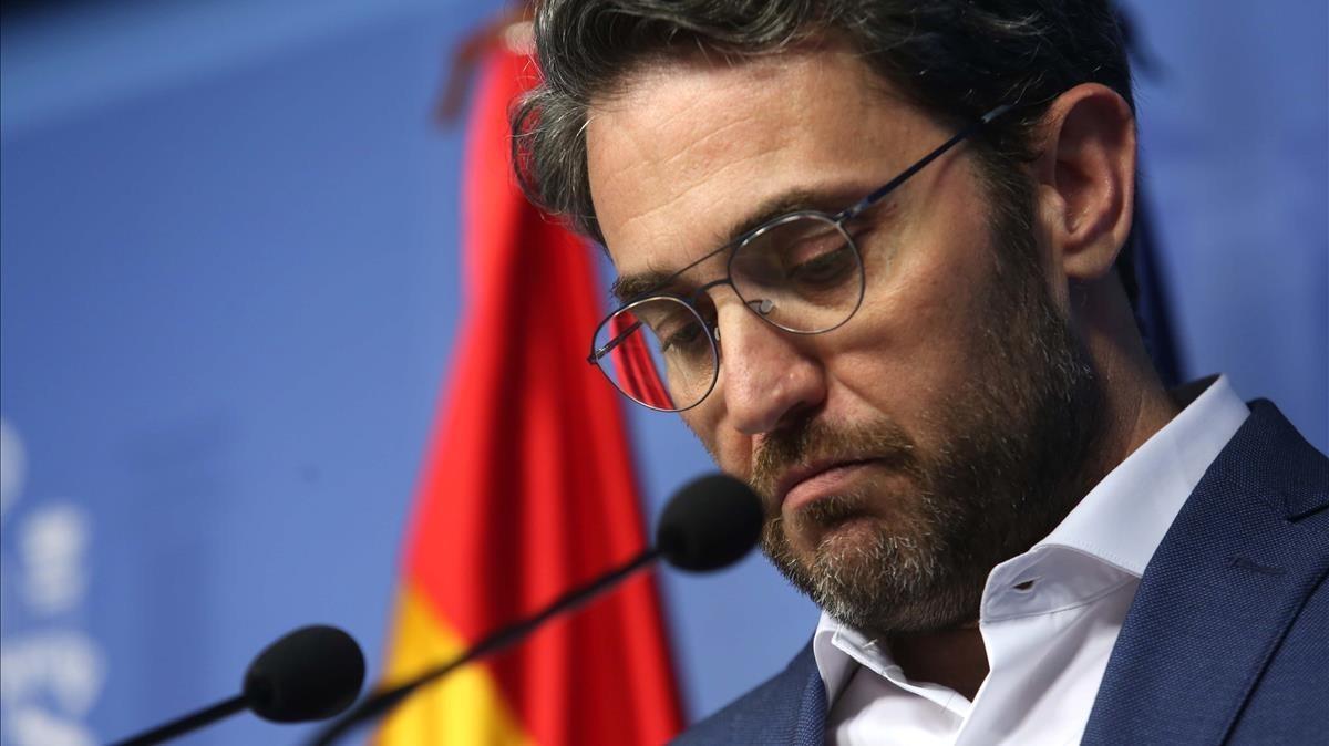 Màxim Huerta explica los motivos de su dimisión, este miércoles en el Ministerio de Cultura.