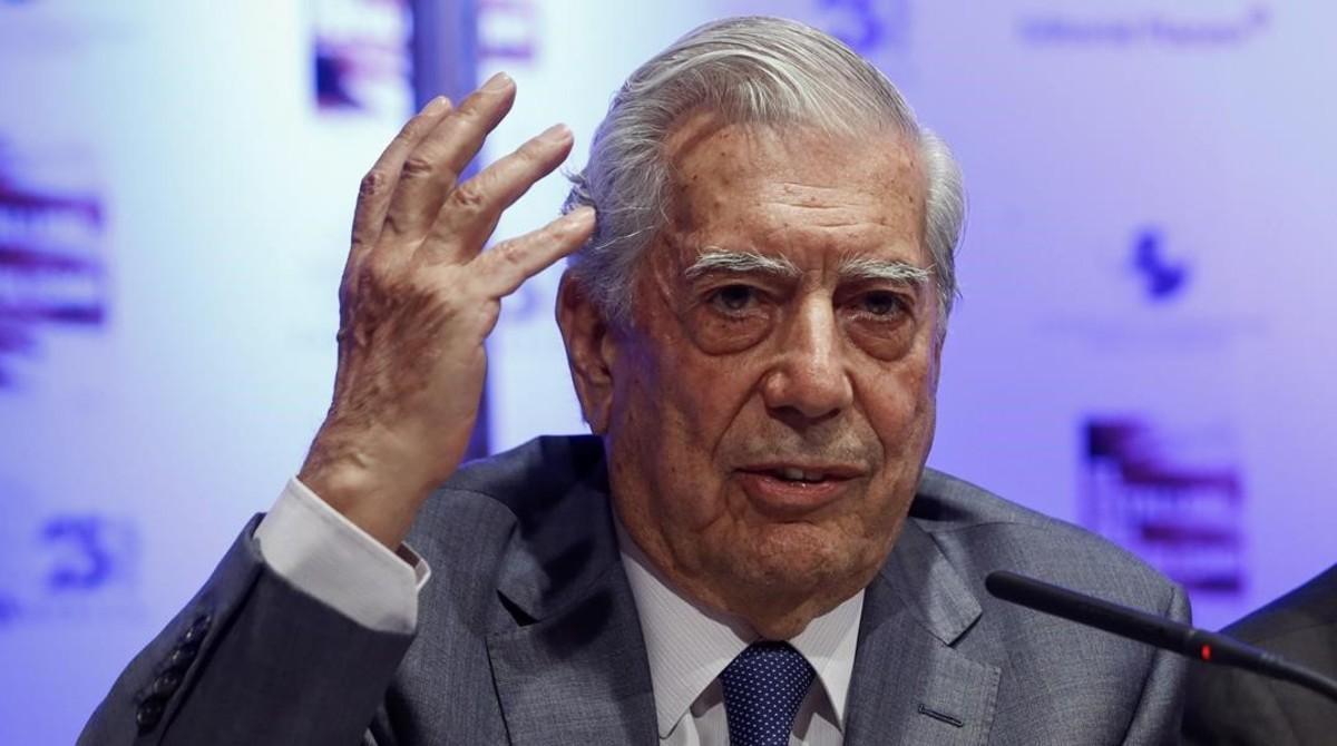 Vargas Llosa, durante un acto en Madrid, el año pasado.