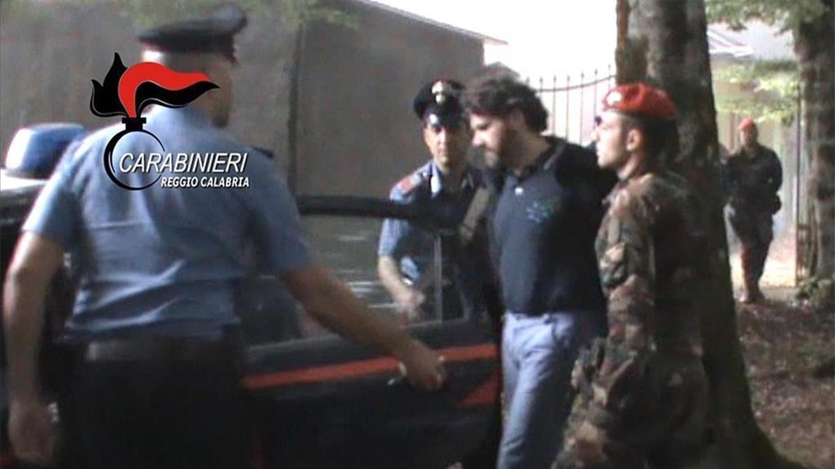Detención el pasado año del jefe de la 'Ndrangheta',Ernesto Fazzalari, en Calabria.