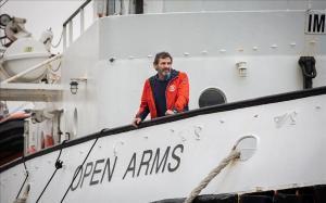 Òscar Camps, a bordo del 'Open Arms' en Barcelona.