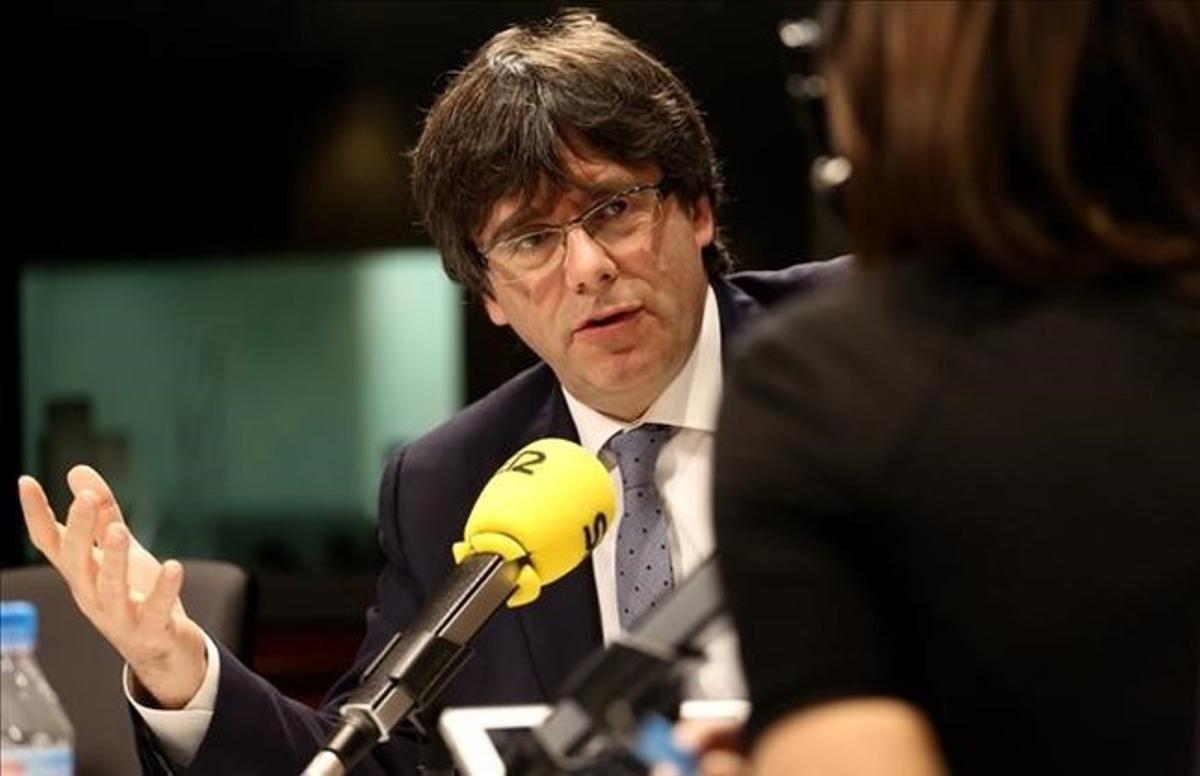 El 'president' Carles Puigdemont, durante la entrevista que ha concedido este jueves en la cadena SER.