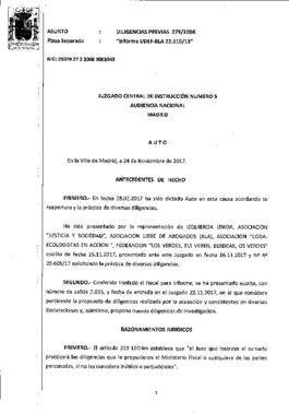 Auto de la citación del juez José de la Mata como testigos a Zaplana, González y Lopez Madrid para investigar la caja b del PP.
