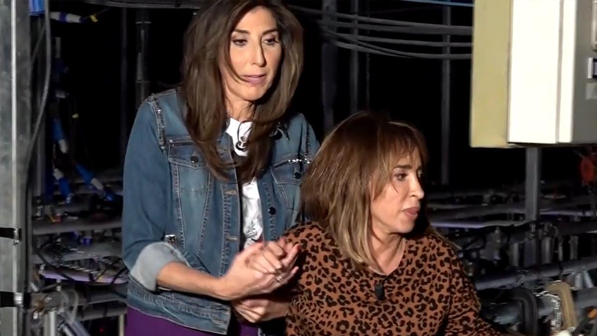 """María Patiño sufre un ataque de vértigo en las alturas del plató de 'Sálvame': """"Me quiero bajar"""""""