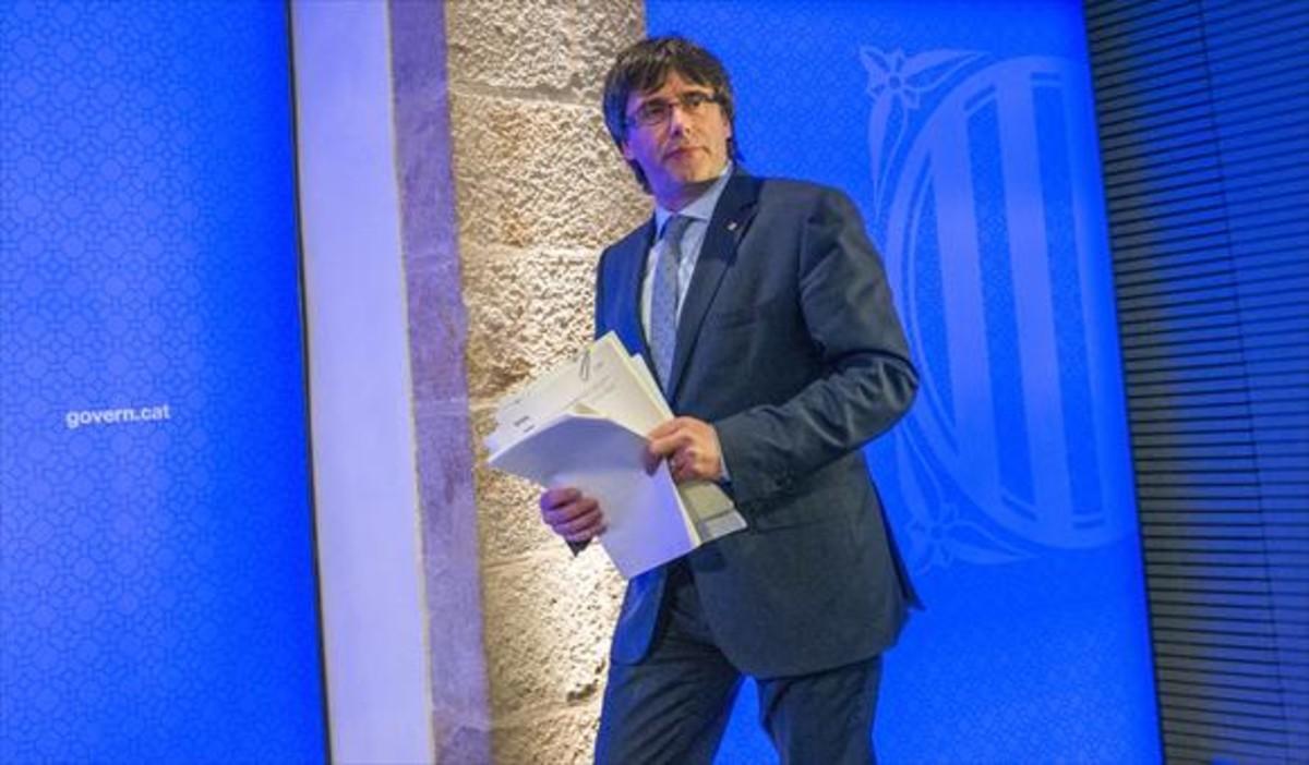El 'president' Puigdemont en el Palau de la Generalitat.