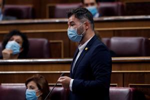 El portavoz de ERC en el Congreso, Gabriel Rufián, este 9 de septiembre en la sesión de control en el Congreso.
