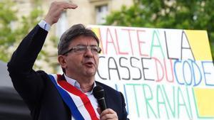 El candidato de Francia Insumisa, Jean Luc Melenchon en un mítin.