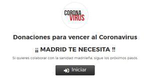 Portada de la página web de la Comunidad de Madrid para donaciones a la sanidad