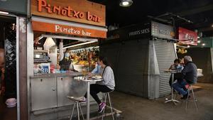 Una de las barras más populares de Barcelona, el Bar Pinocho de la Boqueria, este miércoles.