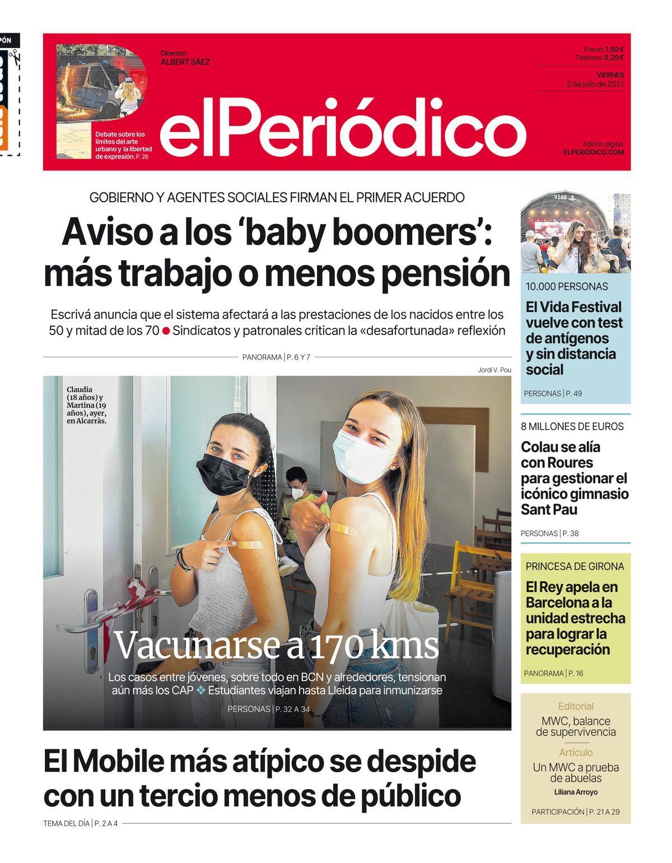 La portada d'EL PERIÓDICO del 2 de juliol del 2021