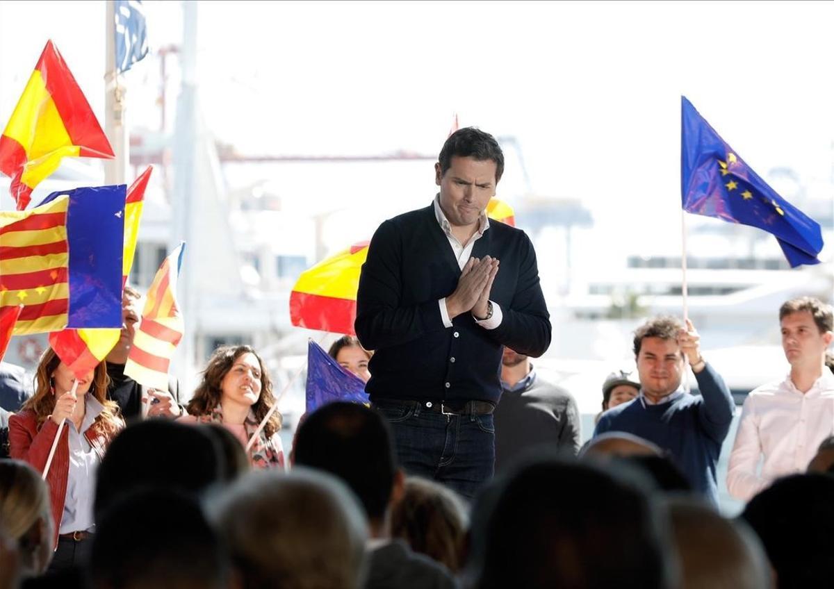 El presidente de Ciudadanos, Albert Rivera, en un acto de su partido este sábado