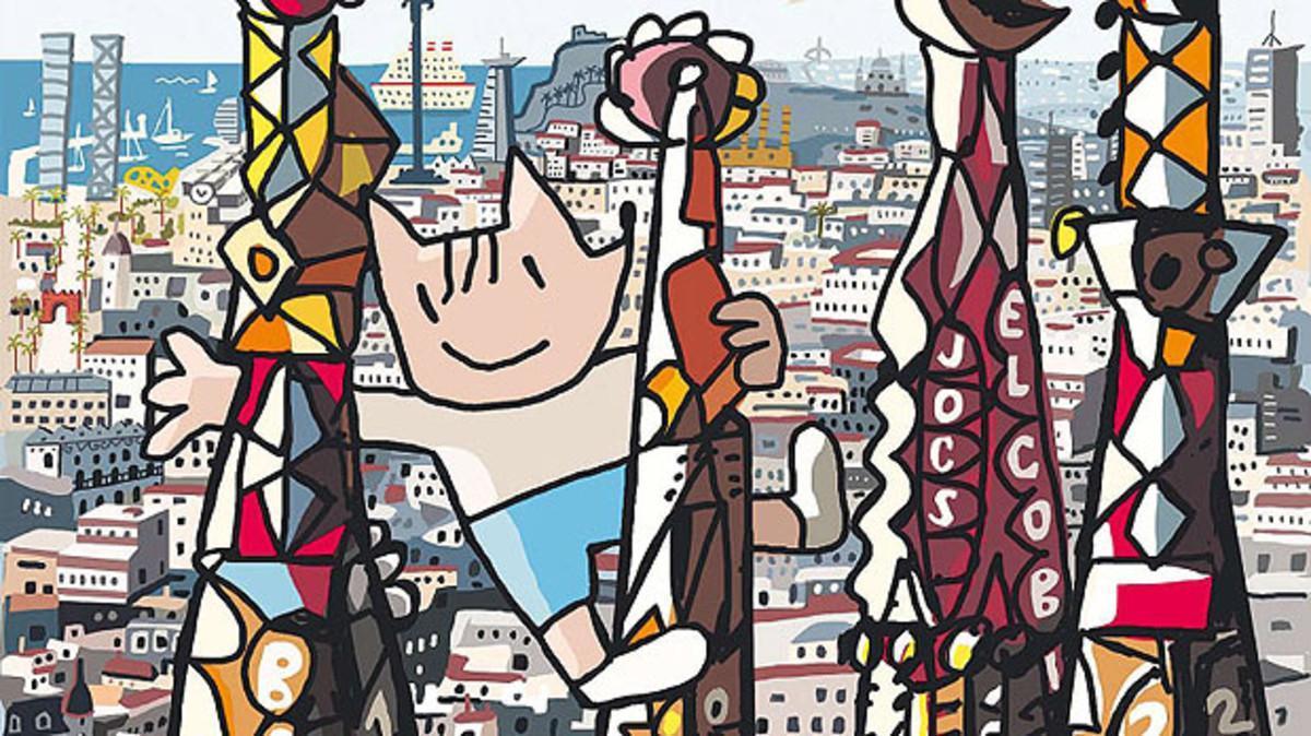 Detalle de la portada de Mariscal para el especial de 'Mas Periódico' dedicado al 25º aniversario de los Juegos de Barcelona-92.