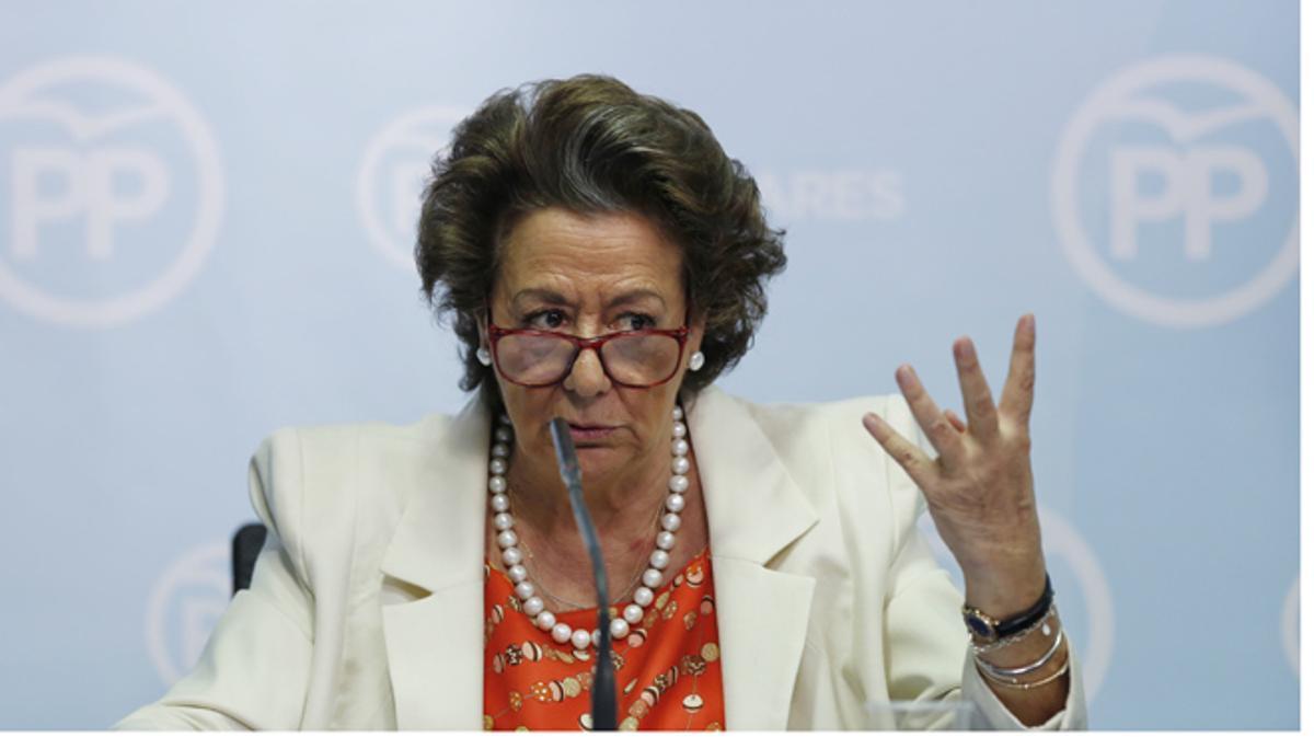 Rita Barberá durante su comparecencia, hoy.