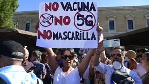 Manifestación negacionista en Madrid, en agosto del 2020.