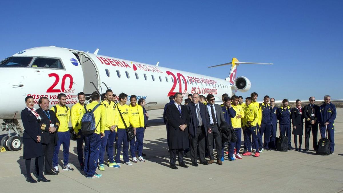 El Villarreal, en uno de sus desplazamientos en el 2015.