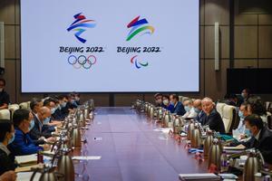 Imagen de archivo de oficiales chinos debatiendo la próxima celebración de las Olímpiadas de Invierno en Pekín en 2022.