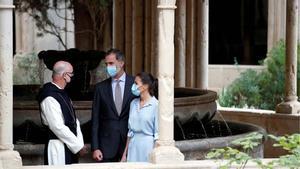 Els Reis visiten Poblet entre protestes independentistes