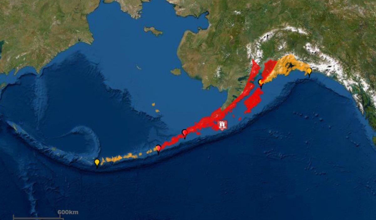 Mapa de la zona del terremoto registado este miércoles en Alaska.