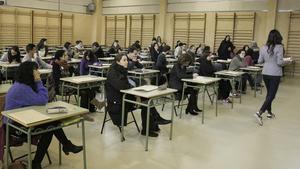 Examen para acceder a plazas de maestro de Secundaria, en abril del 2018.