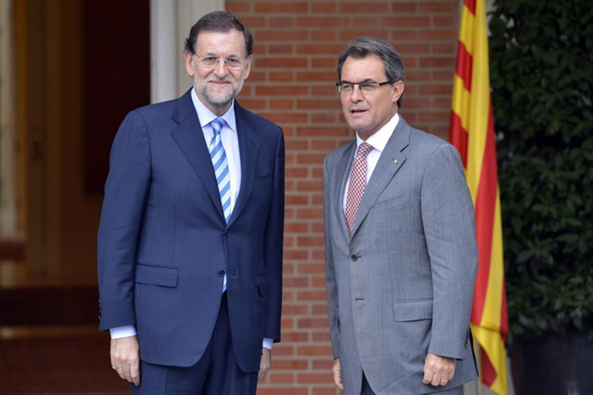 Mariano Rajoy y Artur Mas, durante su encuentro en la Moncloa en septiembre del 2012. JULIO CARBÓ