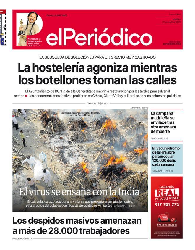 La portada d'EL PERIÓDICO del 27 d'abril del 2021