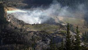 Una columna de humo sale del vertedero de Zaldibar que se desplomo la semana anterior14 de febrero 2020.