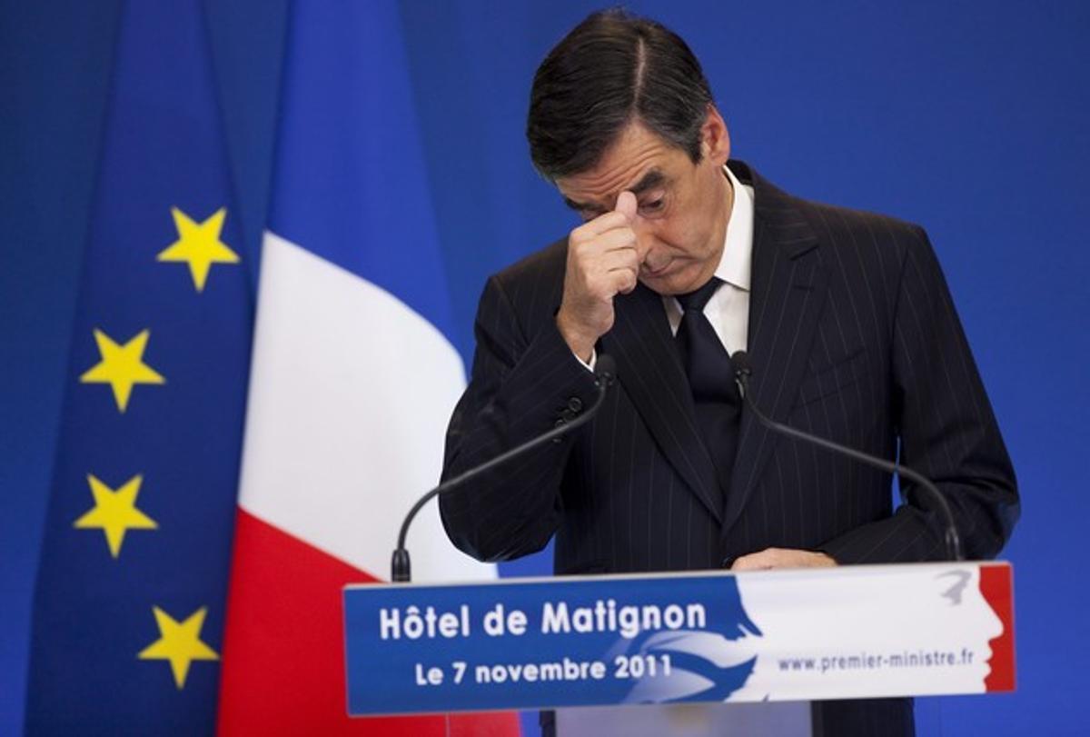 El primer ministro francés, François Fillon, durante la presentación del plan de ahorro, este lunes, en París.