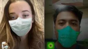 Dos de los nuevos filtros de Instagram con mascarillas para protegerse del coronavirus.