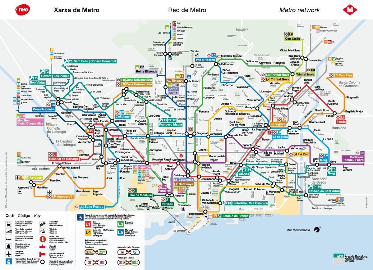 Mapa del metro Barcelona.