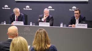 Pere Navarro, Constantí Serrallonga y Salvador Tasqué en la presentación de la Industrial Week 2018.