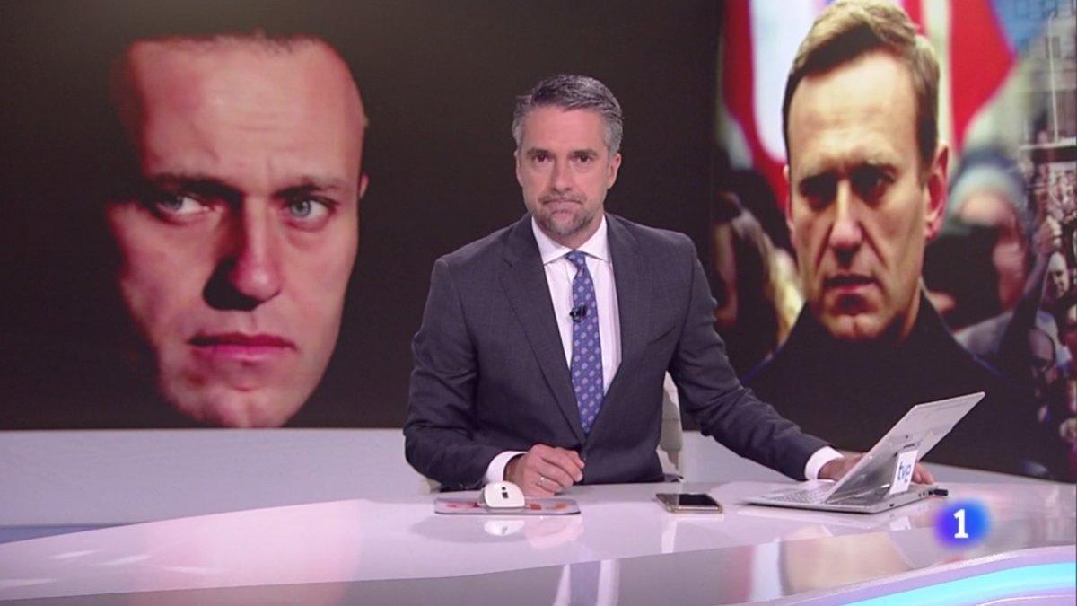 Carlos Franganillo en el Telediario de La 1 de TVE.