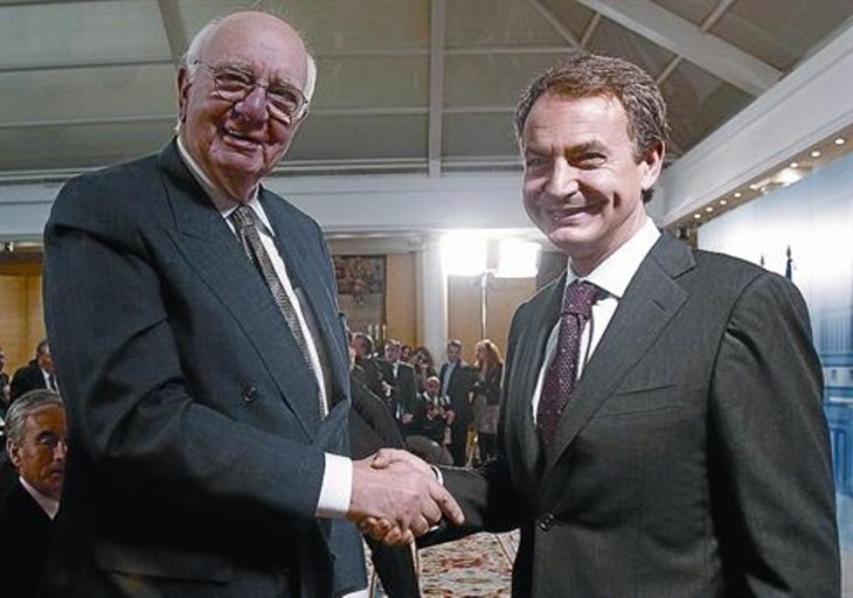 Zapatero con el expresidente de la Fed, Paul Volcker