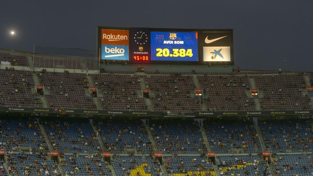 Número de espectadores en el Camp Nou presentes para ver  el partido de liga ( primero de la era post messi) entre el FC Barcelona y la Real Sociedad