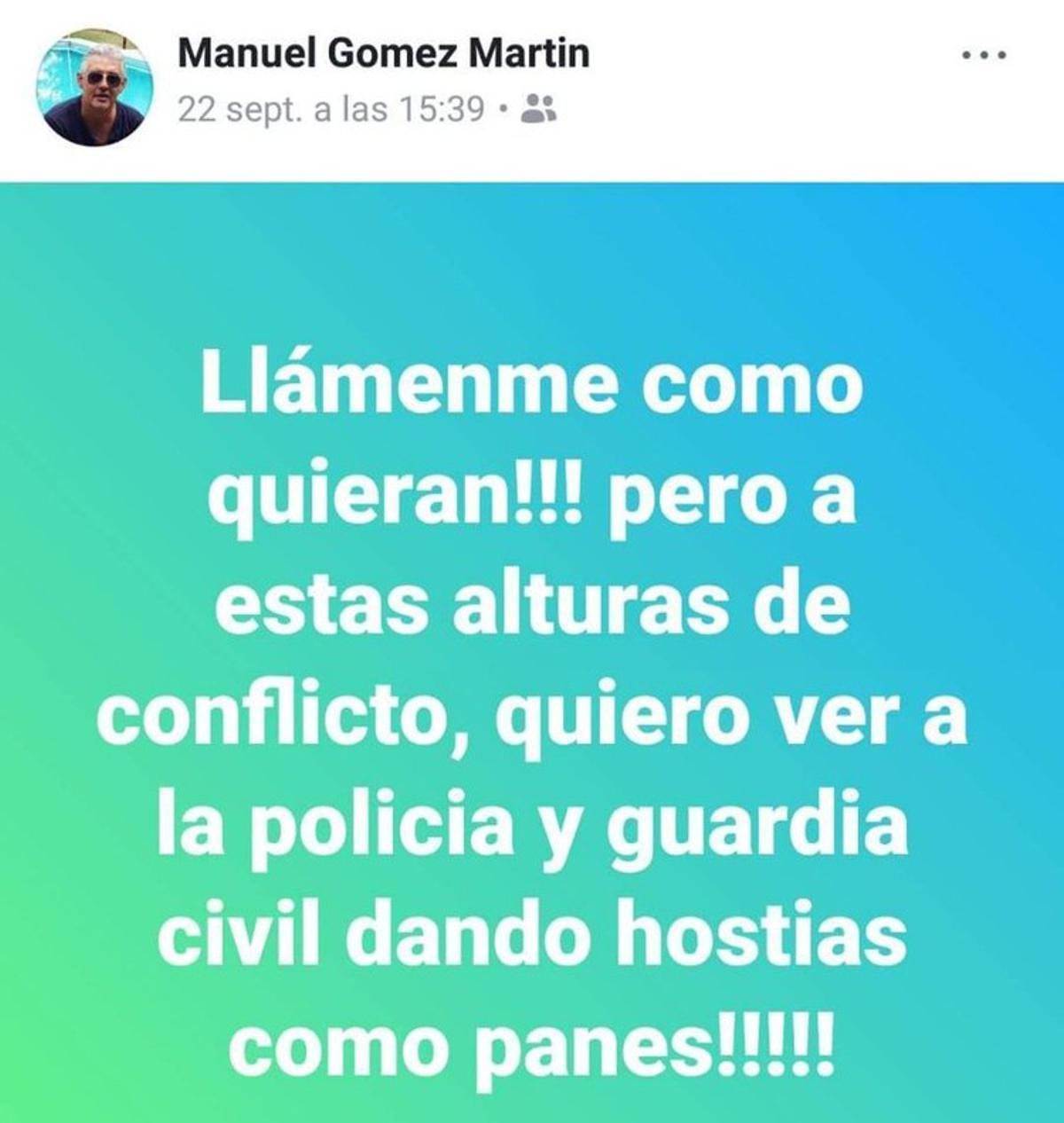 Captura de pantalla del 'post' en Facebook del portavoz del PP en Gibraleón (Huelva) llamando a la Policía y la Guardia Civil a dar hostias como panes.