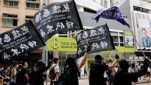 Manifestación en contra de la ley de seguridad, el pasado 1 de julio por las calles de Hong Kong.