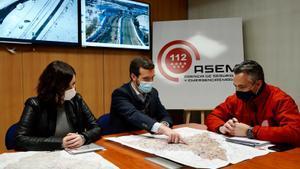 Ayuso y Casado, en una visita a la sede de los Servicios de la Agencia de Seguridad y Emergencias Madrid 112-ASEM 112-